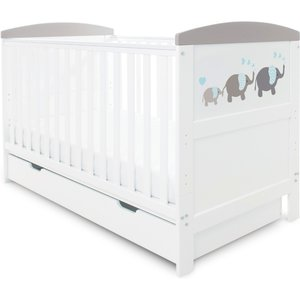 Ickle Bubba Coleby Style Cot Bed Under Drawer And Sprung Mattress Elephant Love Grey 44 002 C3s 822