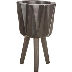 Interiors By Premier Small Multi-faceted Planter In A Magnesia Fibreglass With Beech Wood  5505786