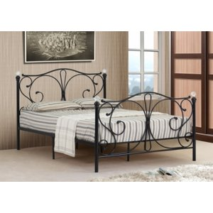 Isabelle Metal Double Bed Frame With Crystal Finials - Black  5057289854645