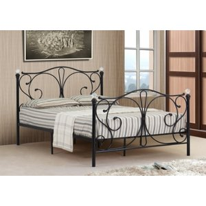 Isabelle Metal Small Double Bed Frame With Crystal Finials - Black