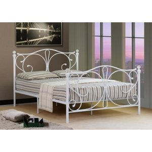 Isabelle Metal Small Double Bed Frame With Crystal Finials - White