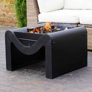 Ivyline 38cm Outdoor Metal Hexham Firepit With Grill - Black Omhfgb38