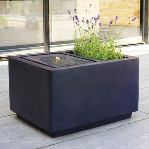 Ivyline Outdoor Contemporary Led Cube Water Feature With Planter - Granite Oclcwpg71