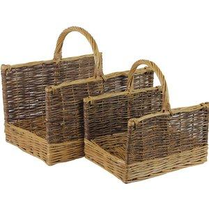 Jvl Two Tone Rectangular Willow Log Basket Set Of 2