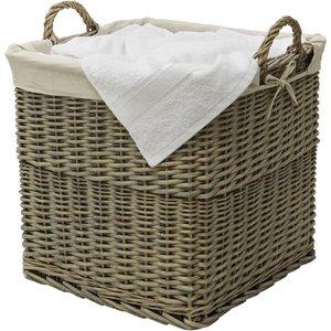 Jvl Willow Lined Log Basket - Antique Wash 16 008