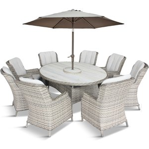 Lg Outdoor Corsica 8 Seat Oval Dining Set With Deluxe 2m X 3m Parasol Csc/set2rd