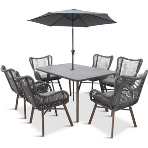 Lg Outdoor Santa Fe 6 Seat Dining Set With 3m Stainless Steel Parasol Stf/set3rd