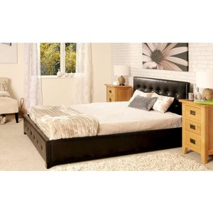 Lincoln Ottoman Storage Double Bed - Brown  5057289856168