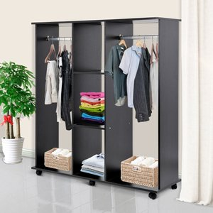 Mobile Double Open Wardrobe With Clothes Hanging Rail Black
