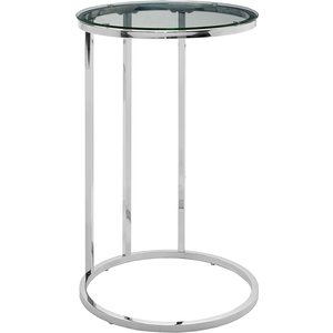 Modern Round End Table - Glass/chrome Rdf16rcstgl