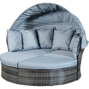 Monaco Rattan Day Bed With Sun Shade - Grey