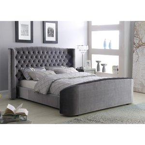 Oregon Velvet Double Bed Silver Oregdousil