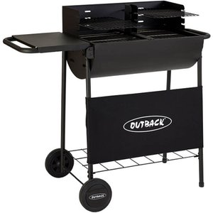 Outback Half Drum Charcoal Bbq With Twin Grill - Black Cd100
