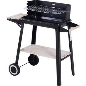 Outsunny Charcoal Bbq Grill Trolley - Black 846 032