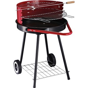 Outsunny Round Charcoal Trolley Bbq 01 0562