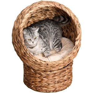 Pawhut Wicker Pod Cat Bed - Brown/beige D30 104