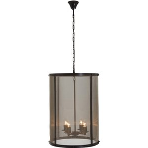 Premier Housewares Hampstead Large Pendant Light In Iron With Gauze - Antique Black/gold F 5511039