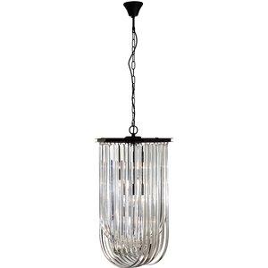 Premier Housewares Kensington Townhouse Pendant Light In Iron With Crystals - Antique Blac 5511037