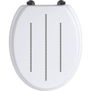 Premier Housewares White Diamante Detail Toilet Seat With Zinc Alloy Fittings