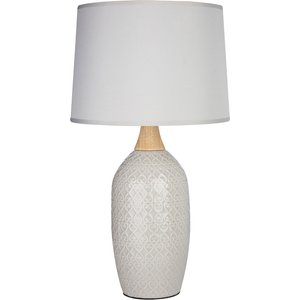 Premier Housewares Willow Table Lamp In Grey Ceramic With Grey Fabric Shade