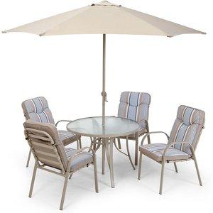 Robert Dyas Provence 4-seater Metal Garden Furniture Set With Parasol G0220