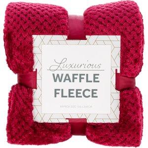 Robert Dyas Waffle Fleece Throw - Berry  5020260124976