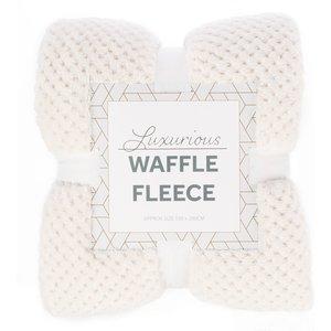 Robert Dyas Waffle Fleece Throw - Natural  5020260124938