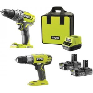 Ryobi One+ 18v Cordless Combi Drill And Drill Driver Twin Pack 2 X 2.0ah Li-ion With Carry Rybtwincd2n 4892210158949