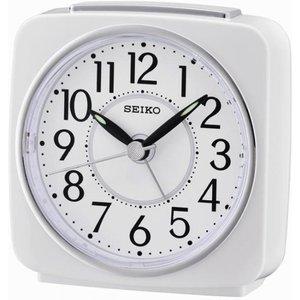 Seiko Square Beep Alarm Clock With Snooze - White Qhe140w