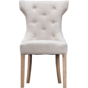 Set Of 2 Wing Back Luxury Dining Chairs - Beige  5060516936281