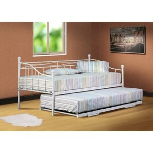 Silvana Metal Single Day Bed Without Trundle - White