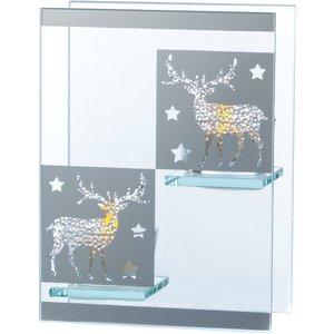 Silver Double Tealight Holder - Reindeer  5017224703575