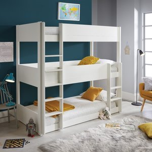 Snowdon White Three Tier Bunk Bed And Orthopaedic Mattresses Sn3bbw+clay