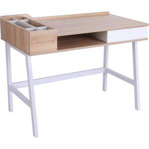 Solstice Atmos Computer Desk With Storage Unit & Metal Frame - White/oak 833 408