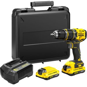 Stanley Fatmax V20 18v Brushless Combi Drill In A Kit Box With 2x2.0ah And 1a Charger Sfmcd721d2k Gb