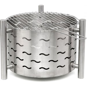 Tepro Silverado Garden Fire Pit With Grill Function In Stainless Steel  4011964013971