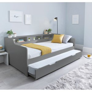 Tyler Grey Guest Bed And Trundle With Memory Foam Mattresses Tygbg+tygbtg+noah