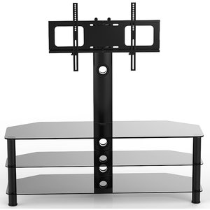 Vivanco Brisa 120cm Glass Tv Stand With Bracket - Black  4008928376753