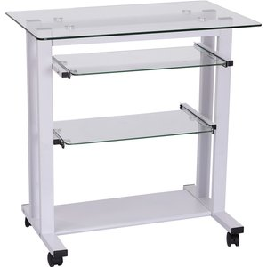 Zennor Home Office Workstation With Glass Top & Wheels - White 920 015wt