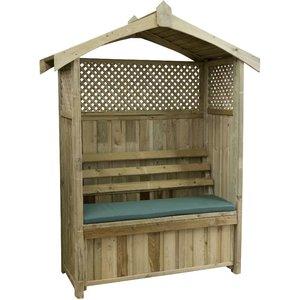 Zest4leisure Dorset Wooden Arbour With Storage Box & Seat Cushion - Green