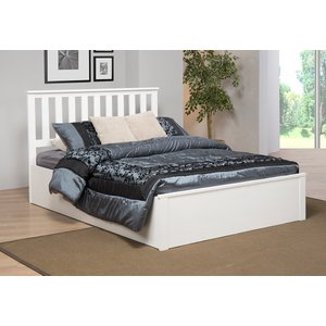 Zoe Storage Double Bed Solid Rubberwood - White Zoedouwhi