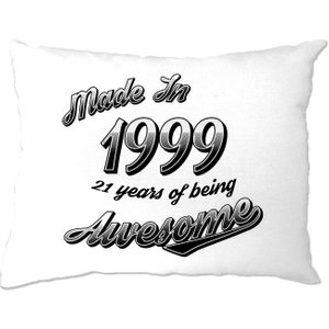 Shirtbox 21st Birthday Pillow Case Made In 1999 21 Years Of Awesome - White A Pc 01535 Wht
