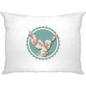 Shirtbox Vintage Logo Pillow Case Floral Patterned Owl Badge - White A Pc 01460 Wht