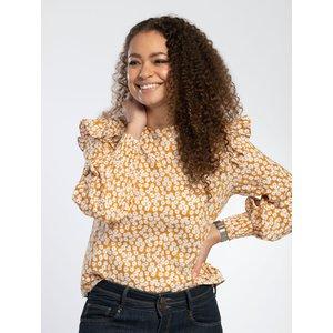 Pentlebay Womens Frill Shoulder Blouse (ochre, Size 16) Pbss20016 Och 16 Womens Tops, Ochre