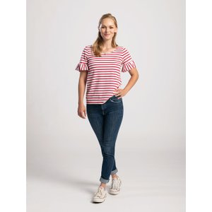 Pentlebay Womens Frill Sleeve Tee (white / Red Stripe, Size 10) Pbss19004 Wr 10 Womens Tops, White / red stripe