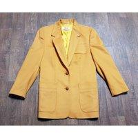 1980s Vintage Yarell Mustard Cashmere Jacket Uk Size 14