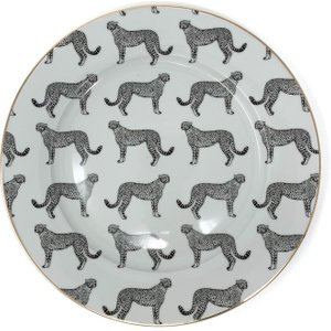 Animal Luxe Dinner Plate All Over Leopard Print - Black With Gold Rim