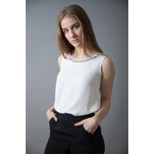Bariloche Medina Diamante Collar Sleeveless Blouse White - 42, WHITE