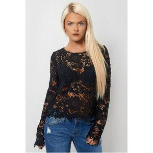 Black Crochet Long Sleeve Blouse Black - 12, Black