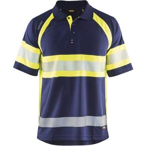 Blaklader Hi-vis Breathable Wicking Polo Shirt Class 1 - 3338 Navy Blue/yellow - M, Navy blue/Yellow